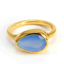 Natural Pear Facet Blue Chalcedony Gemstone 14K Yellow Gold Wedding Ring Size 7