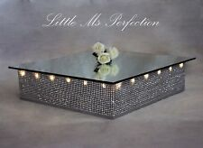 "DIAMANTE WEDDING CAKE STAND LIGHT UP LED SQUARE 18""DISPLAY PODIUM  MIRROR TOP"