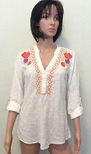 Style & Co. Poet Blouse Tunic Shirt Boho Embroidery White SIZE XS Safari Garden