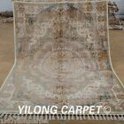 Yilong 5.6'x8.1' Silk Rugs Hand Knotted Medallion Hand-made Carpets Online 1859
