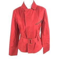 CAbi Medium Red First Mate Jacket Nautical Belted Cotton Cropped Trench #401
