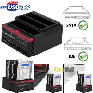 "2.5"" 3.5"" SATA IDE Hard Disk Drive HDD Docking Station Clone USB HUB Card Reader"