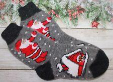 Christmas SOCKS WOMEN's Knitted natural sheep WOOL warm gift Santa Claus
