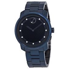 Movado Bold Blue Honeycomb Diamond Dial Mens Watch 3600450