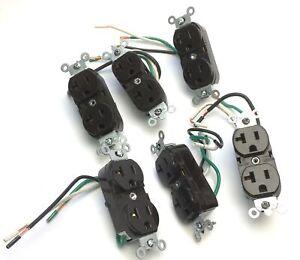 Lot of 6 Leviton Duplex Receptacle Brown, Pre-Wired, NEMA 5-20R, 2P 3W 20A 125V