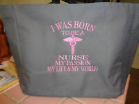 1 NURSE TOTE Bag RN LPN CNA  MEDICAL OFFICE gift PERSONALIZED EMBROIDERED CUTE!