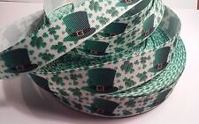 "St Pat's Lucky Clover inspired 7/8"" Grosgrain Ribbon - 1 Yard - Usa Seller"