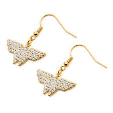 Wonder Woman Gold Plated Gem Logo Symbol Dangle Earrings Ear Rings Jewelry NIP