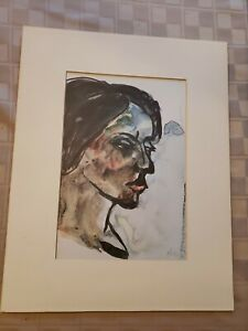 """Emil Nolde Vintage Print Matted """"Portrait of a Young Girl"""" 12""""×15"""""""