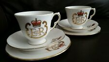 2 Queen Elizabeth Silver Jubilee 1977 English Fine Bone China Cup & Saucer trios
