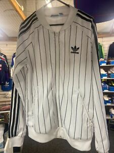 Adidas Originals Tracksuit Top Uk 14 White Black Pin Stripes