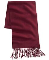 Club Room Mens Scarf Burgundy Red One Size Fringe Soft Knit Cashmere $120 278