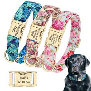 Floral Personalised Dog Collars Engraved Name Custom ID Metal Buckle Adjustable