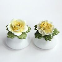 VTG AYNSLEY English Made Small Floral Salt and Pepper Shakers Fine Bone Yellow