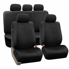 Premium PU Leather Black 2 Row Full Set Seat Covers Split Bench Air Bag Safe Car