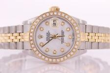 Ladies Rolex Datejust Stainless Steel and Gold Automatic Blue Diamond Dial Watch