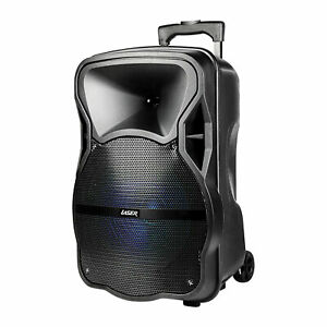 Laser Portable Party Speaker Trolley Wireless Bluetooth Mic LED Lights