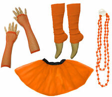 Neon 1980's UV Tutu Skirt Leg Warmer Dance Hen Fancy Dress Party Costume Set