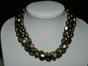~M~Wunderschöne alte Modeschmuck Kette 3 reihiges Collier Bronzegrünfarben~M~