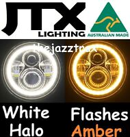 "1pr 7"" LED Headlight Lights White Halo Ford LTD Fairlane Fairmont flashes AMBER"
