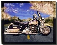 Poster Of Motorcycle on Highway Riders Bike Art Print Wall Decor (16x20)