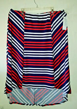 New W/Tags NY COLLECTION Woman Size 2X Hi-Low Stripe Skirt Red White Blue