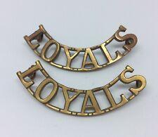 WW2 Loyal North Lancashire Regiment (Loyals) Brass Shoulder Title Badge Pair