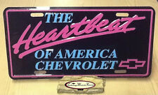 CHEVROLET HEARTBEAT OF AMERICA LICENSE PLATE TAG MADE IN USA PINK TURQUOISE