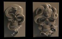 2 Pcs 3D STL Models SKULL SNAKE for CNC Router 3D Printer Engraver Aspire Artcam