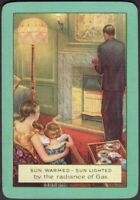 Playing Cards 1 Single Card Old Wide GAS FIRE Advertising FAMILY Home GIRLS Dad