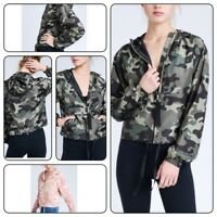 Womens Camo Camouflage Bomber Jacket Military Army Zip Up Outwear Coats Tops