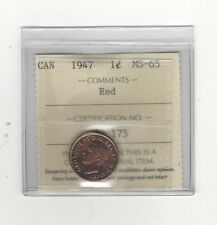 **1947**,ICCS Graded Canadian, Small One Cent, **MS-65**