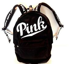 VICTORIA SECRET ~PINK BLACK CAMPUS TRAVEL CARRY BACKPACK BOOK BAG w LOGO! ~NEW!