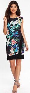 NEW ex Wallis BLACK & MULTI Floral Wrap Hem Dress RRP £45 size 8 10 12 14
