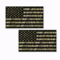 """Camo American Flag Hard Hat Stickers Helmet Decals Forest 2 Pack  4"""" wide"""