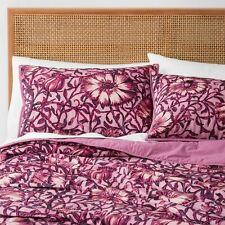 Opalhouse Velvet Love In A Mist Floral 3pc Quilt SET FULL QUEEN Merlot Burgundy