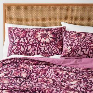 Opalhouse Velvet Love In A Mist Floral --2 pc Quilt SET Twin  Merlot Burgundy