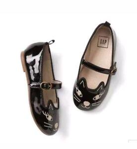 Baby Gap NWT Toddler Girls Black Patent Kitty Cat Ballet Flat Shoes 5 6 7 8 $30