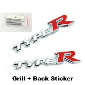 2 x Honda Type R White / Red Boot Sticker & Front Grill Badge Metal Emblems