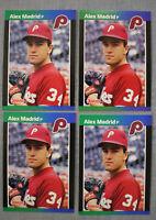 (8) Alex Madrid 1989 Donruss 4 RARE ERROR Rookie Cards (4) Non-Error period #604