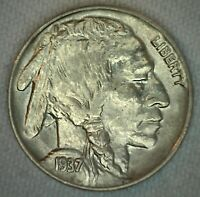1937 US Buffalo 5c Five Cent Coin Copper Nickel Brilliant Uncirculated