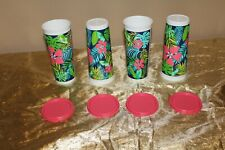 New Set of 4 Tupperware Beautiful Hawaiian Design 16oz Tumblers with lids
