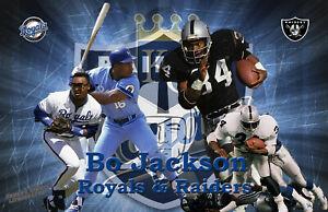 Oakland Raiders Lithograph print of  Bo Jackson Football and baseball  17 x 11