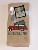 Woody Red Car Tree Finger Tip Towels Embroidered Christmas Set of 2 Guest Bath