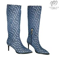 River Island Taxi Women's Heeled Boots Blue Fabric Monogram Logo Size 4 UK / 37