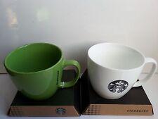 A Pair of Starbucks 2015 Coffee Company Avocado Green & White 20oz Mug
