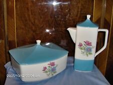 VINTAGE BLUE LAGOON 4901 SERVING DISH & COFFEE POT MADE JAPAN FINE- STONEWARE
