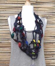 Zuza Bart * Design HAND MADE bellissima ECCENTRICO lana Rich Collana ** Antracite/Multi **