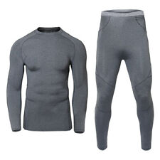 Men Winter Thermal Underwear Base Layer Warm Top & Bottom Long Johns Set