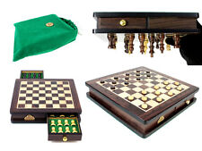 """Travel Magnetic Chess Set Rosewood 9"""" - Algebraic Notation - Checkers / Draughts"""